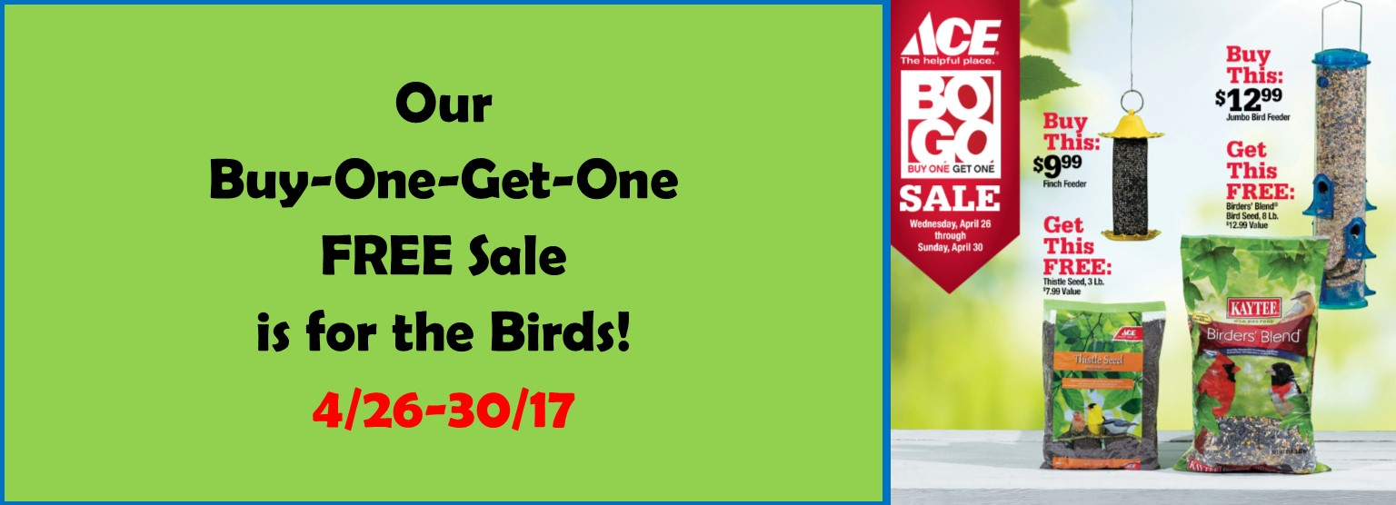 Buy One Get One Bird Seed through 4/30/17