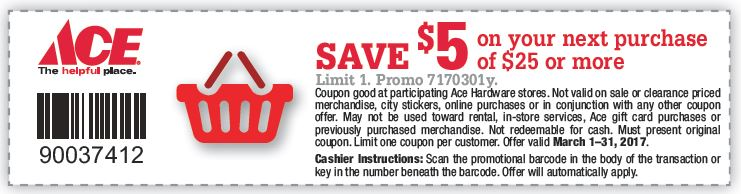 $5 off $25 March Coupon