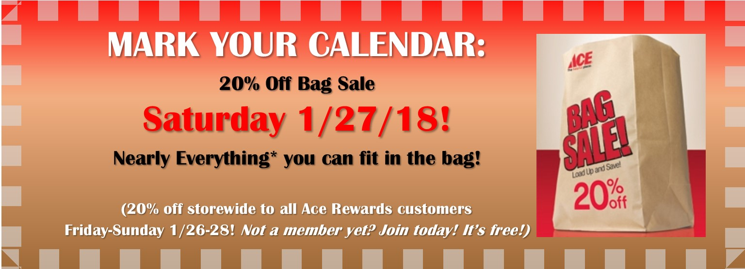 20% Off Bag Sale 1 27 18