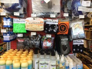 a mask and sanitizer display at Standard 5&10