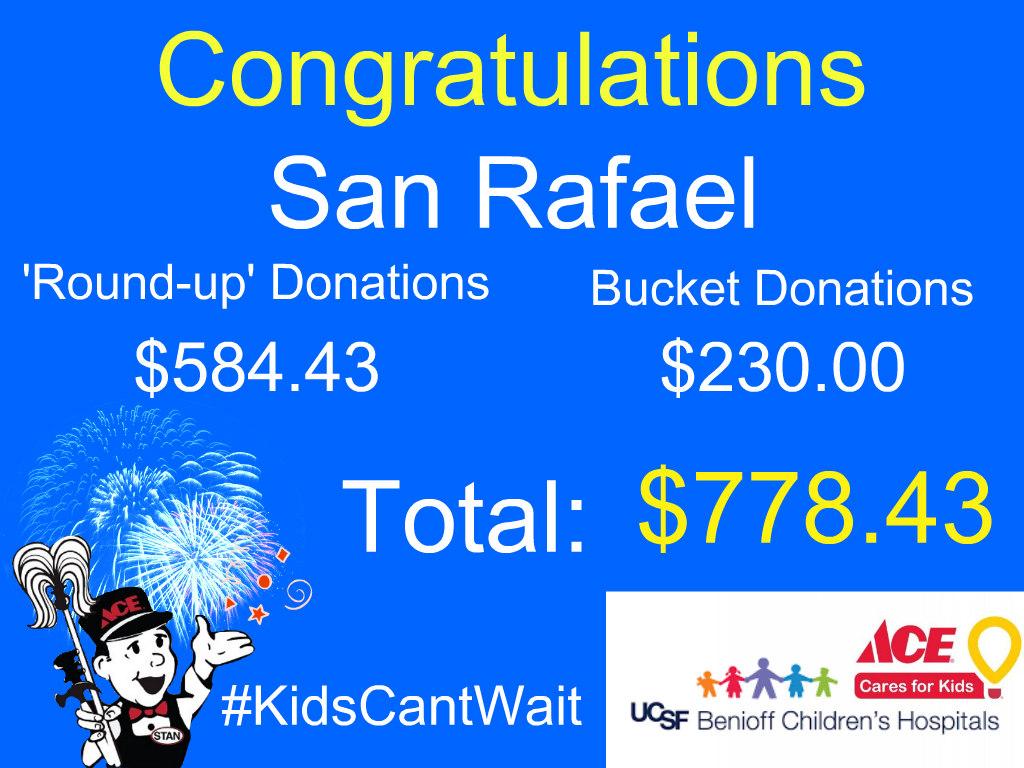 $778 raised for UCSF Benioff Children's Hospital